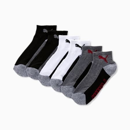 Boys' Quarter Crew Socks [6 Pack], GREY / RED, small